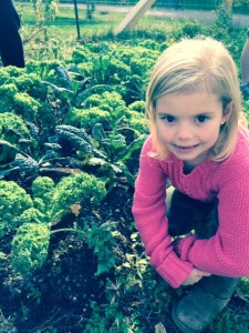 Gracie with the most AMAZING Kale!